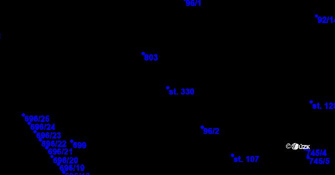 Parcela st. 330 v k.ú. Kosov, Katastrální mapa