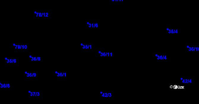 Parcela st. 36/11 v k.ú. Štípa, Katastrální mapa