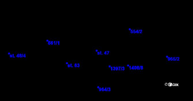 Parcela st. 47 v k.ú. Kozmice u Benešova, Katastrální mapa