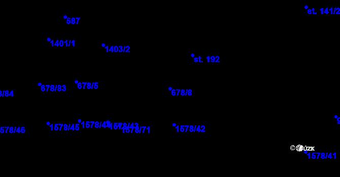Parcela st. 678/8 v k.ú. Kozmice u Benešova, Katastrální mapa