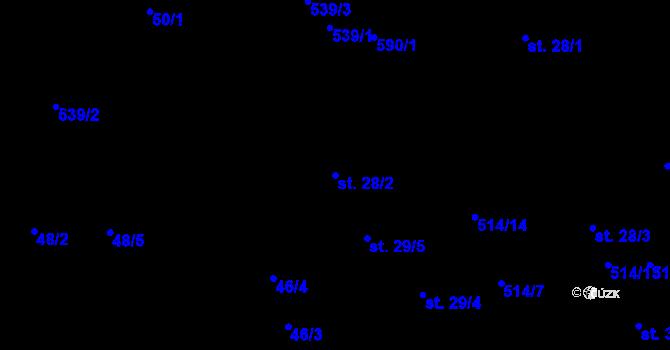Parcela st. 28/2 v k.ú. Minice u Kralup nad Vltavou, Katastrální mapa