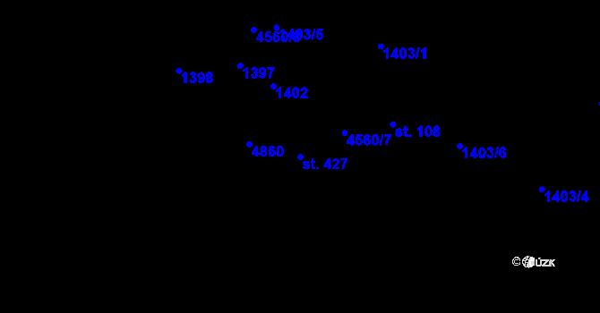 Parcela st. 427 v k.ú. Krásný Les v Krušných horách, Katastrální mapa