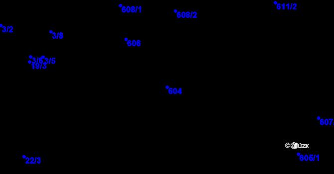 Parcela st. 604 v k.ú. Vážany u Kroměříže, Katastrální mapa
