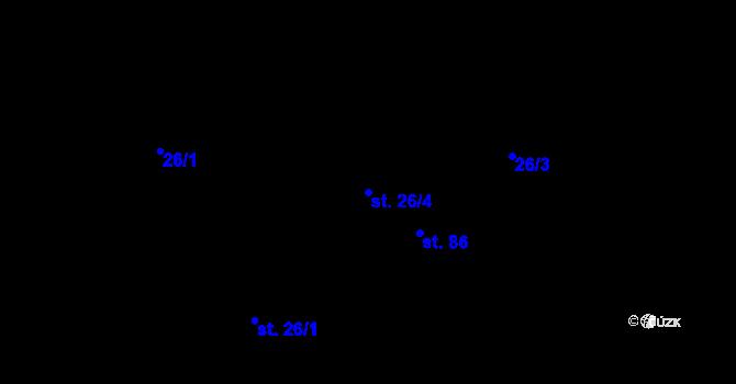 Parcela st. 26/4 v k.ú. Bošín, Katastrální mapa