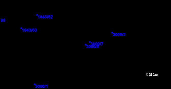 Parcela st. 3000/8 v k.ú. Kuřim, Katastrální mapa