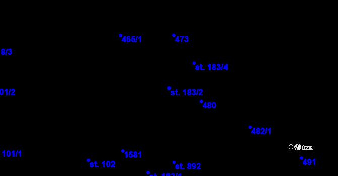 Parcela st. 183/2 v k.ú. Nětčice u Kyjova, Katastrální mapa