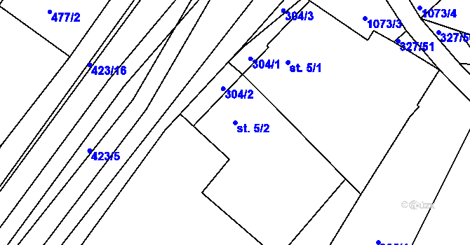 Parcela st. 5/2 v k.ú. Lány na Důlku, Katastrální mapa