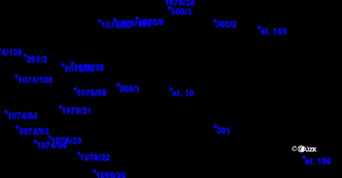 Parcela st. 10 v k.ú. Lány na Důlku, Katastrální mapa