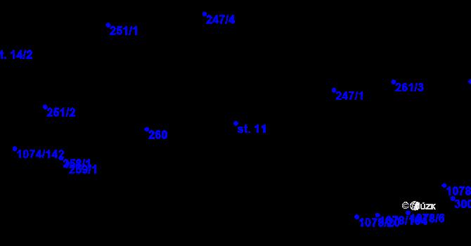 Parcela st. 11 v k.ú. Lány na Důlku, Katastrální mapa