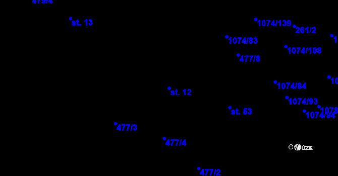 Parcela st. 12 v k.ú. Lány na Důlku, Katastrální mapa