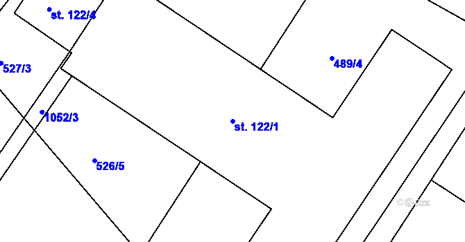 Parcela st. 122/1 v k.ú. Lány na Důlku, Katastrální mapa