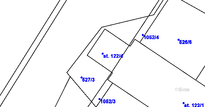 Parcela st. 122/4 v k.ú. Lány na Důlku, Katastrální mapa