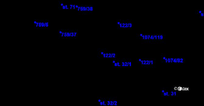 Parcela st. 122/2 v k.ú. Lány na Důlku, Katastrální mapa