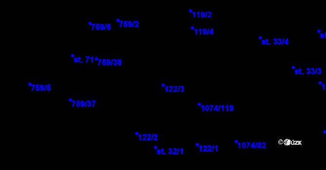 Parcela st. 122/3 v k.ú. Lány na Důlku, Katastrální mapa