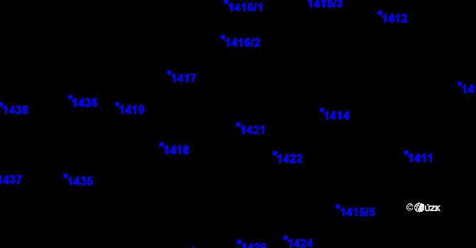 Parcela st. 1421 v k.ú. Lety u Dobřichovic, Katastrální mapa