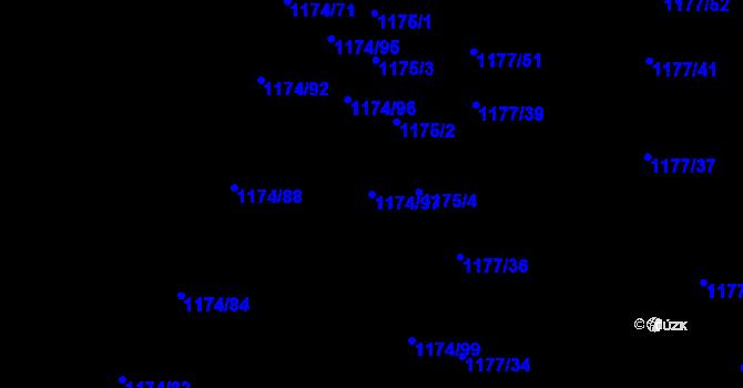 Parcela st. 1174/97 v k.ú. Lhota u Zlína, Katastrální mapa