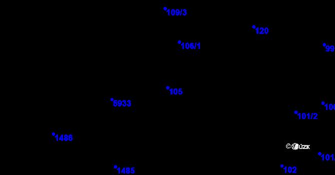 Parcela st. 105 v k.ú. Liberec, Katastrální mapa