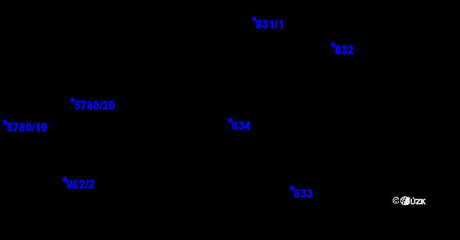 Parcela st. 834 v k.ú. Liberec, Katastrální mapa