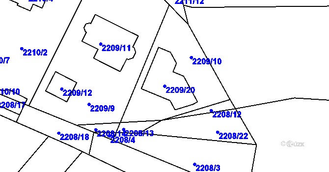 Parcela st. 2209/20 v k.ú. Ruprechtice, Katastrální mapa