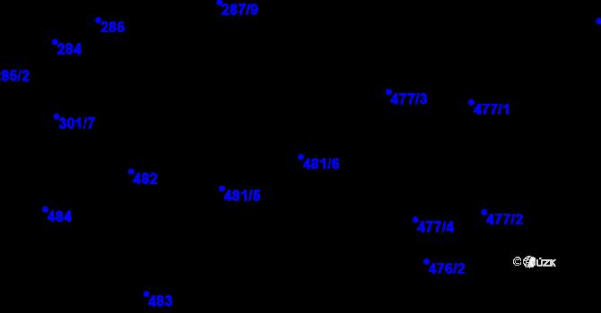 Parcela st. 481/6 v k.ú. Nové Pavlovice, Katastrální mapa