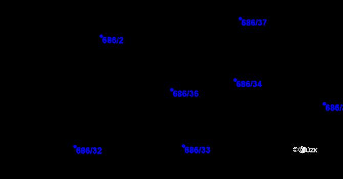 Parcela st. 686/36 v k.ú. Staré Pavlovice, Katastrální mapa