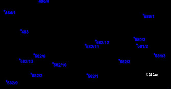 Parcela st. 582/11 v k.ú. Staré Pavlovice, Katastrální mapa