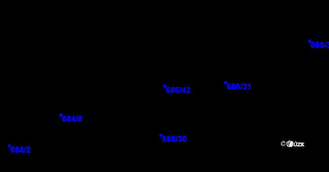 Parcela st. 686/42 v k.ú. Staré Pavlovice, Katastrální mapa