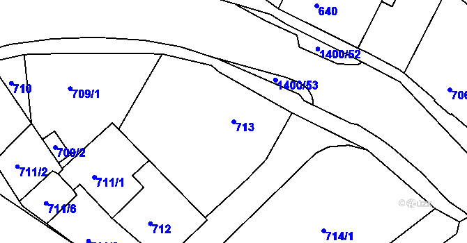Parcela st. 713 v k.ú. Růžodol I, Katastrální mapa