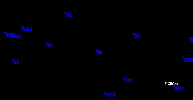 Parcela st. 90 v k.ú. Horní Růžodol, Katastrální mapa