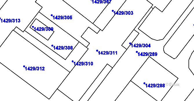Parcela st. 1429/311 v k.ú. Rochlice u Liberce, Katastrální mapa