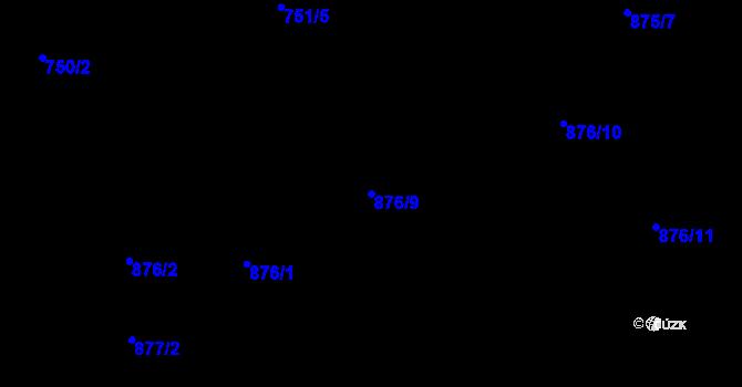 Parcela st. 876/9 v k.ú. Starý Harcov, Katastrální mapa