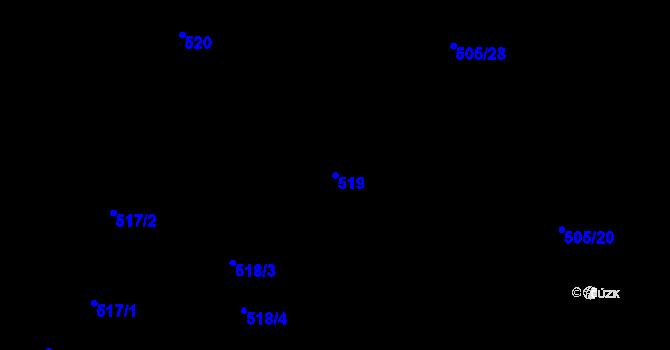 Parcela st. 519 v k.ú. Ostašov u Liberce, Katastrální mapa