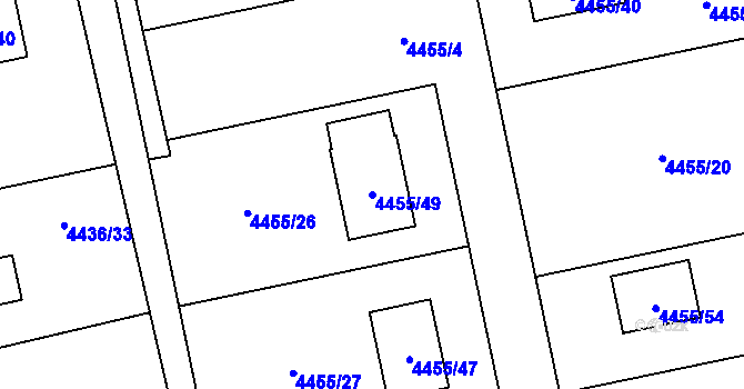 Parcela st. 4455/49 v k.ú. Lískovec u Frýdku-Místku, Katastrální mapa