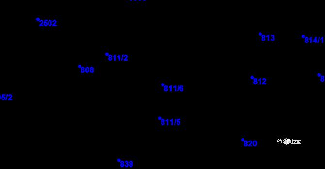 Parcela st. 811/6 v k.ú. Horní Litvínov, Katastrální mapa