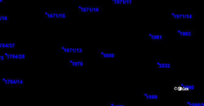 Parcela st. 1980 v k.ú. Horní Litvínov, Katastrální mapa