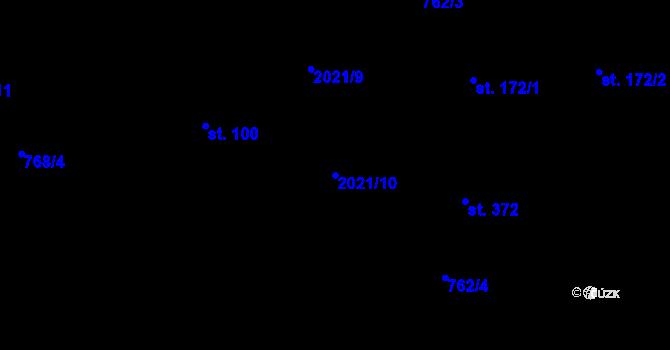 Parcela st. 2021/10 v k.ú. Losiná u Plzně, Katastrální mapa
