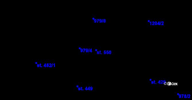 Parcela st. 550 v k.ú. Lučany nad Nisou, Katastrální mapa