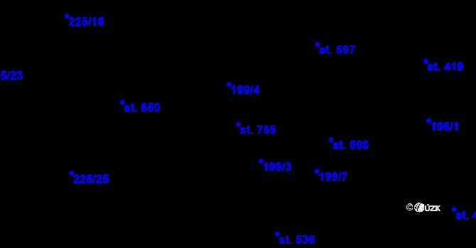 Parcela st. 755 v k.ú. Lučany nad Nisou, Katastrální mapa