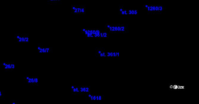 Parcela st. 361/1 v k.ú. Luka nad Jihlavou, Katastrální mapa