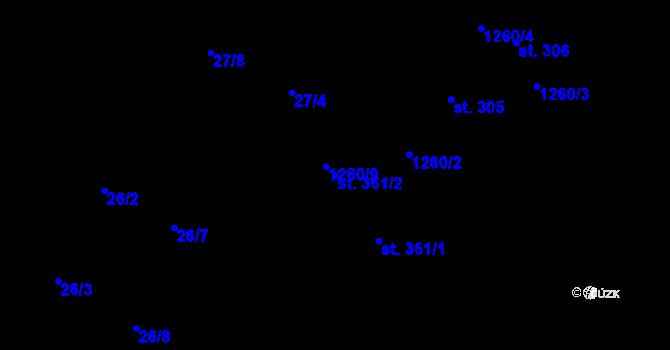 Parcela st. 361/2 v k.ú. Luka nad Jihlavou, Katastrální mapa