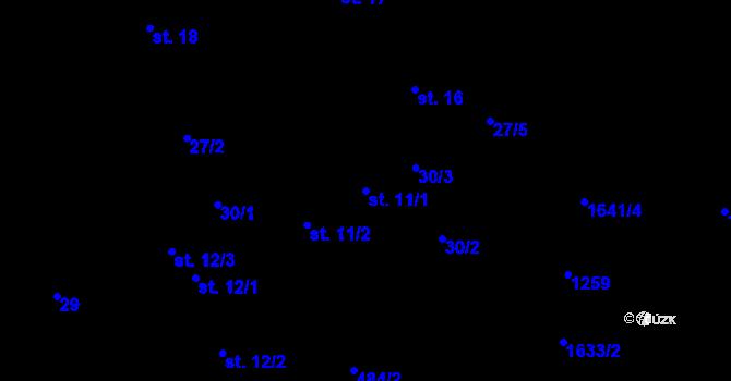 Parcela st. 11/1 v k.ú. Předboř nad Jihlavou, Katastrální mapa