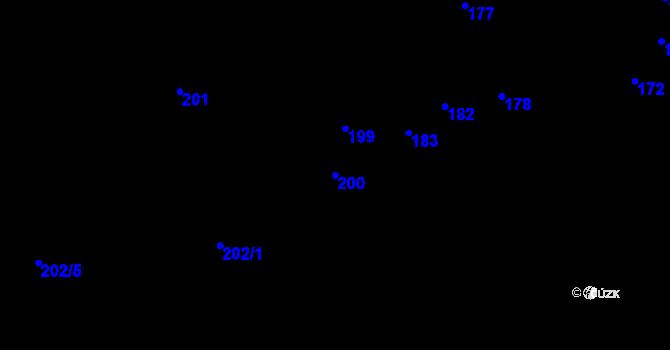 Parcela st. 200 v k.ú. Předboř nad Jihlavou, Katastrální mapa