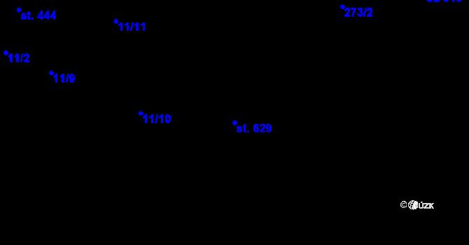 Parcela st. 629 v k.ú. Machnín, Katastrální mapa