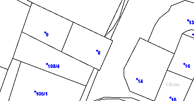 Parcela st. 8 v k.ú. Malé Březno, Katastrální mapa