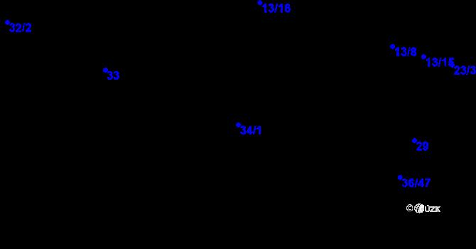 Parcela st. 34/1 v k.ú. Malé Březno, Katastrální mapa