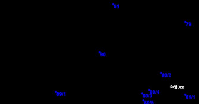 Parcela st. 90 v k.ú. Malé Březno, Katastrální mapa