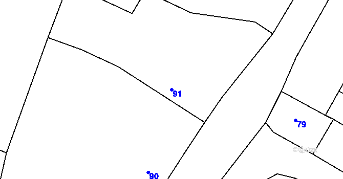 Parcela st. 91 v k.ú. Malé Březno, Katastrální mapa