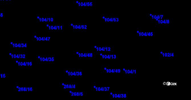 Parcela st. 104/12 v k.ú. Malé Březno, Katastrální mapa