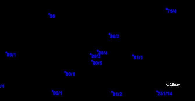 Parcela st. 80/4 v k.ú. Malé Březno, Katastrální mapa