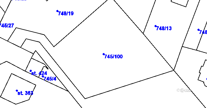 Parcela st. 745/100 v k.ú. Šmolovy u Havlíčkova Brodu, Katastrální mapa